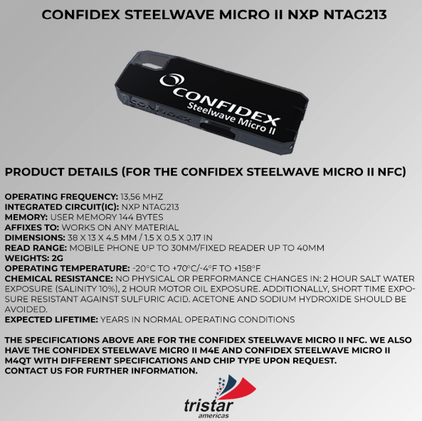 confidex steelwave micro tag Tristar Americas RFID, NFC, Beacons